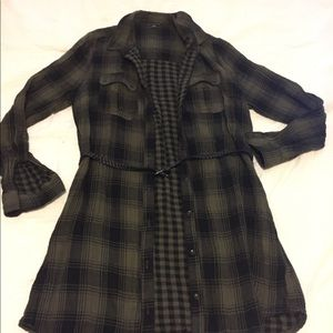 Staccato Long Checker button down blouse.